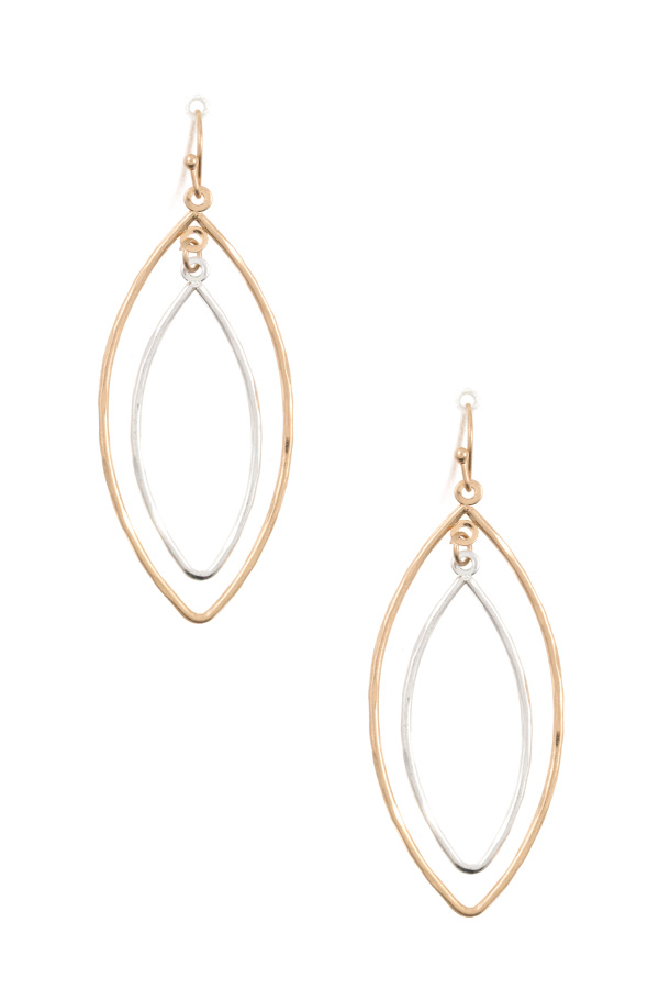 DOUBLE LINK MARQUISE DANGLE EARRING