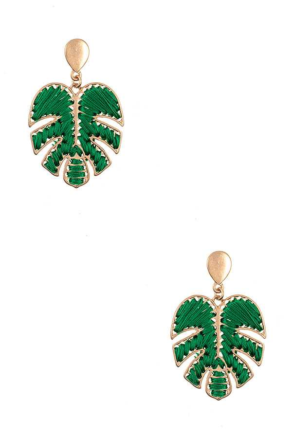 THREAD LEAF FASHION EARRING
