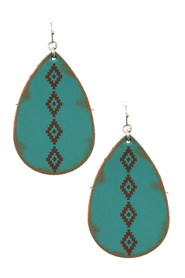 TRIBAL DIAMOND ETCHED TEARDROP DANGLE EARRING