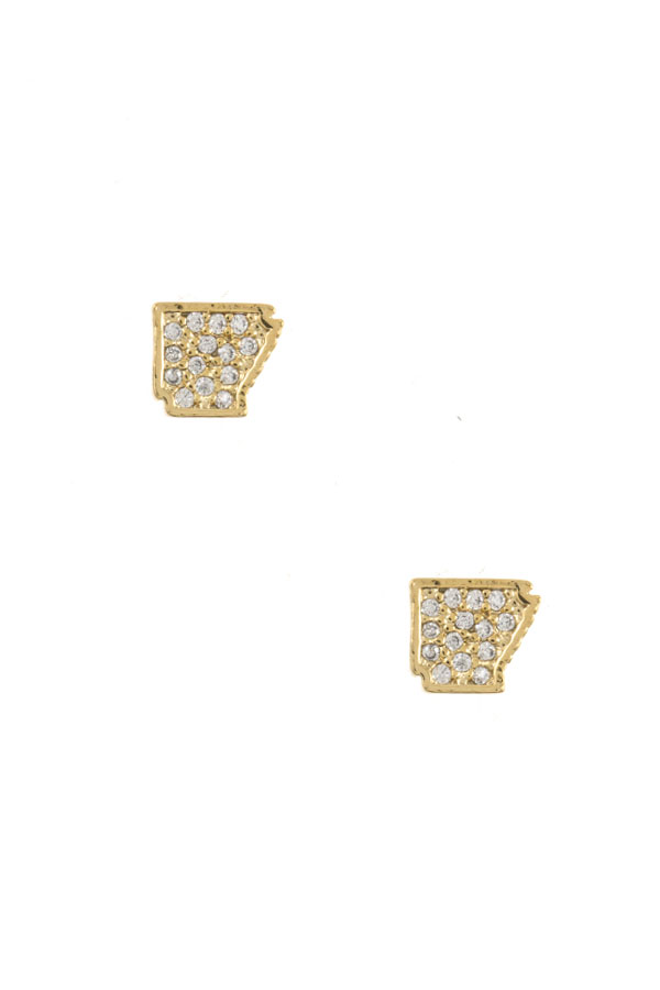 AR STATE CZ STONE POST EARRING