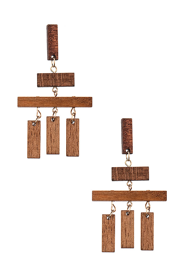 BAR LINK WOODED DANGLE EARRING