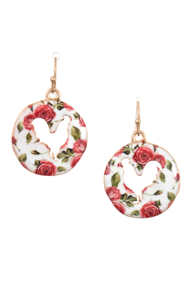 FLORAL CHICKEN ROUND DANGLE EARRING