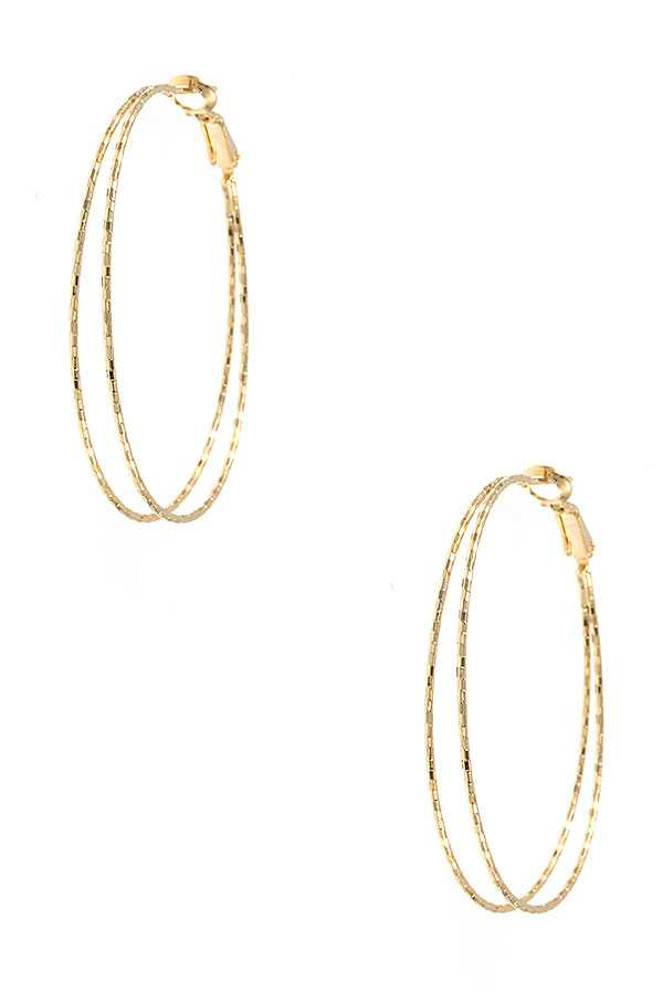 LARGE DETAILED DOUBLE HOOP EARRING