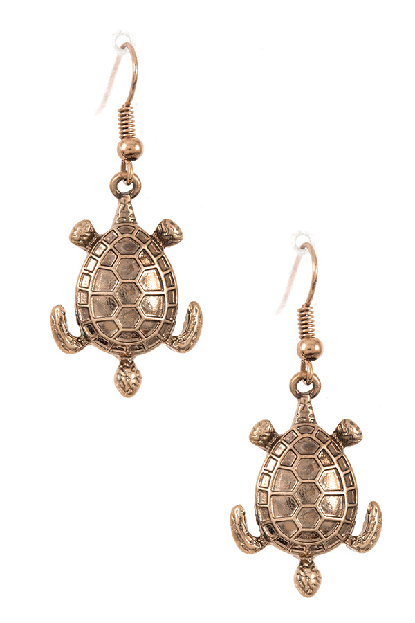 Etched Turtle Dangle Earring