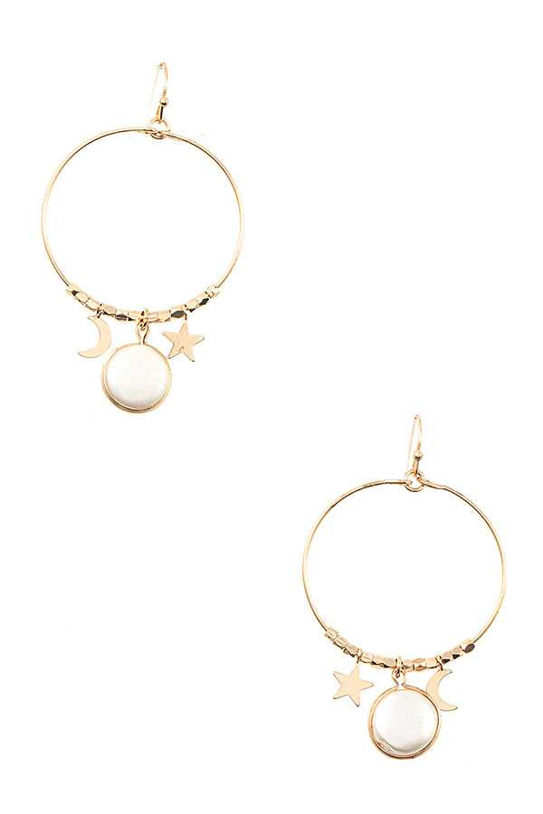 MOON AND STAR PEARL DANGLE EARRING