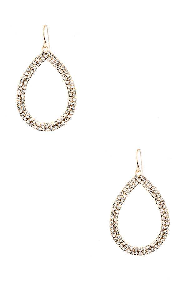 DOUBLE CRYSTAL GEM ROW TEARDROP EARRING