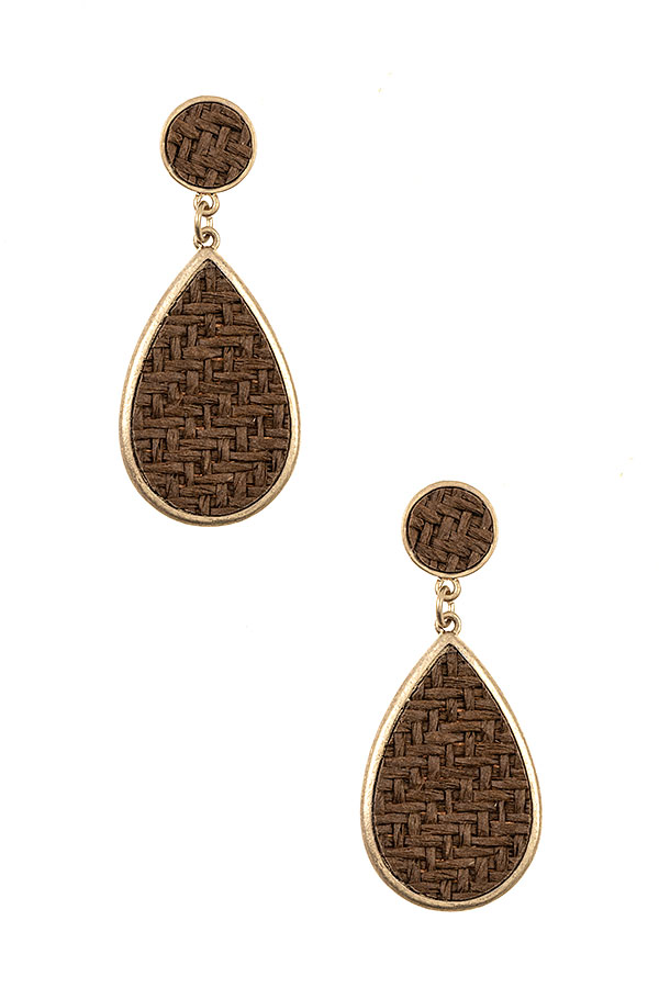 QUILTED PATTERN TEADROP DANGLE EARRING