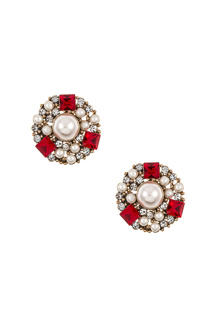 Rhinestone and Pearl Pave Post Earring