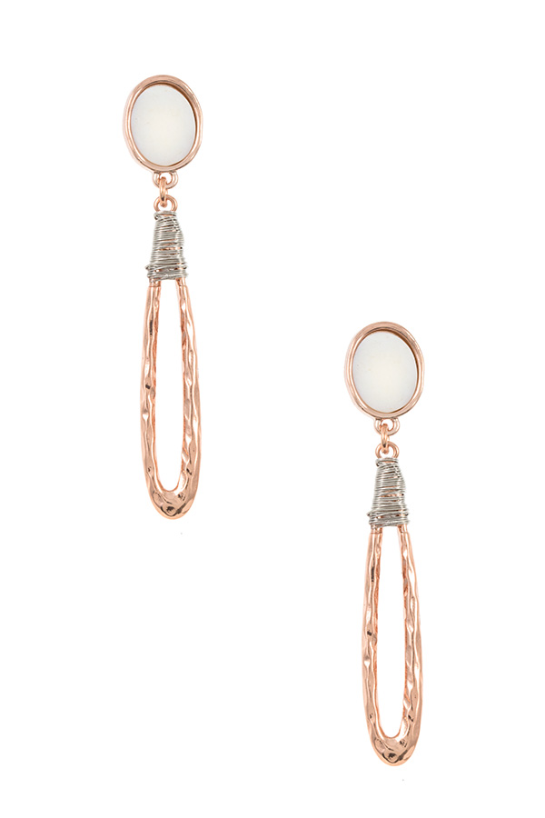 OBLONG TEARDROP STONE ACCENT DANGLE EARRING