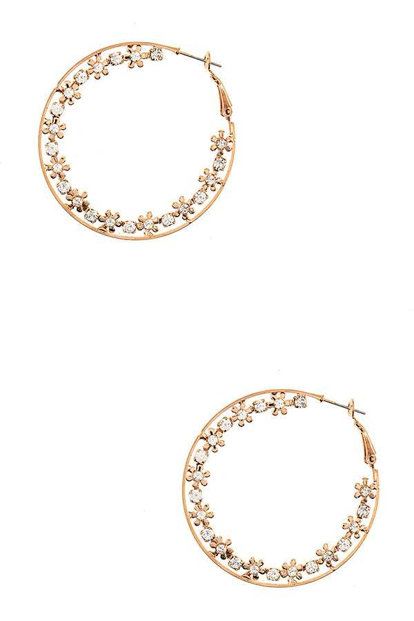 FLORAL CRYSTAL GEM ACCENT HOOP EARRING