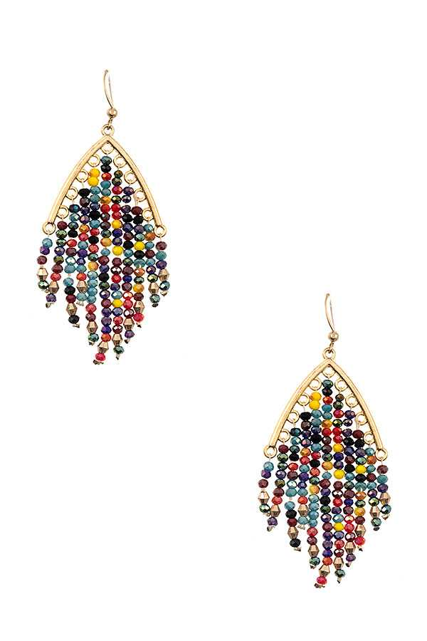 BEADED FRINGE DANGLE EARRING