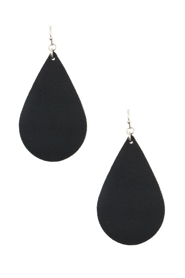 FAUX LEATHER TEARDROP DANGLE EARRING
