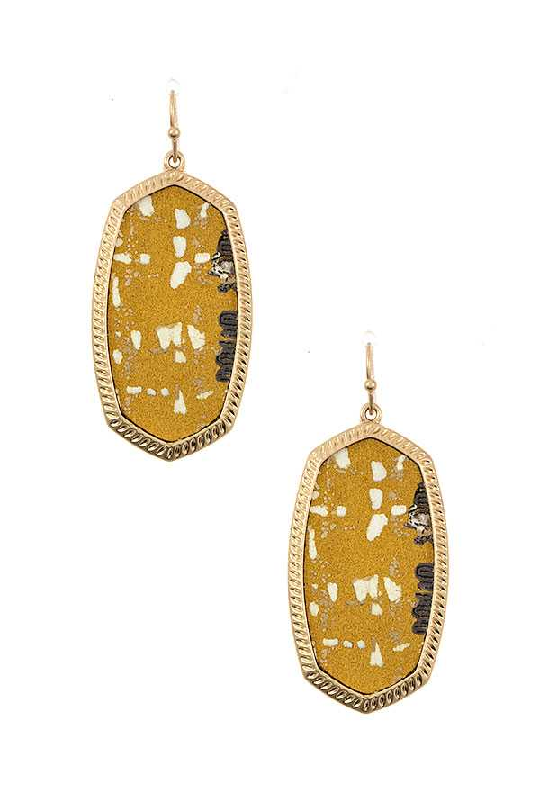 FABRIC PRINT FRAMED OVAL EARRING