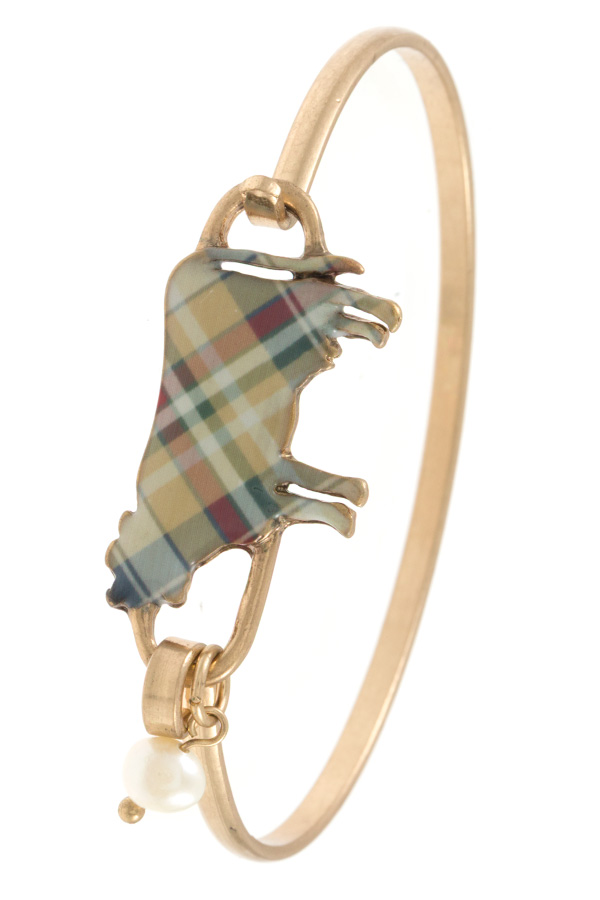 TARTAN PATTERN COW ACCENT BANGLE BRACELET