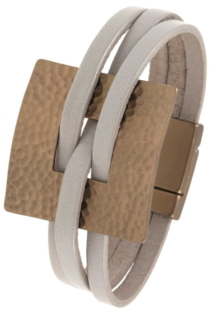Hammered Square Accent Leather Bracelet