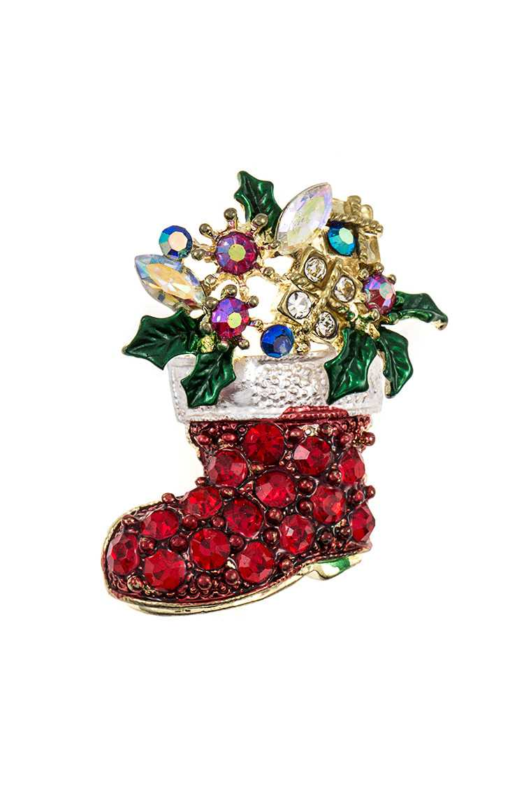 Crystal Gem Santa's Boot Brooch