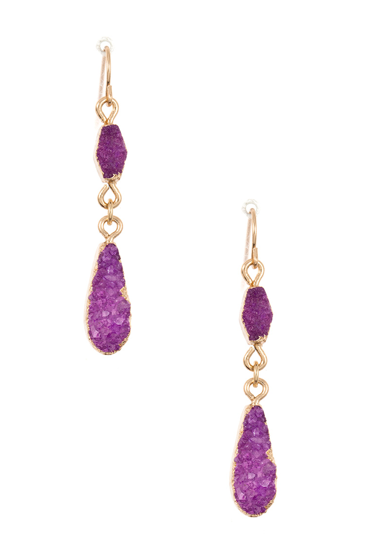 Double Link Teardrop Shape Druzy Stone Dangle Earring