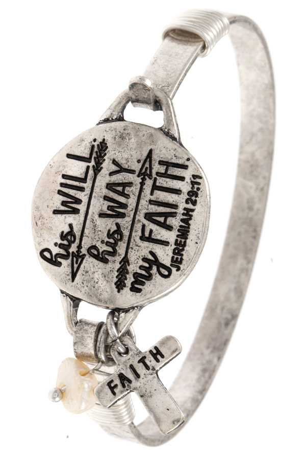 JEREMIAH 29:11 MESSAGE DISK BANGLE BRACELET
