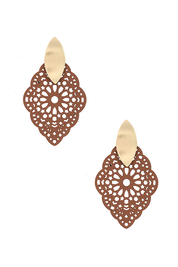 FLORAL CUT OUT METAL ACCENT EARRING