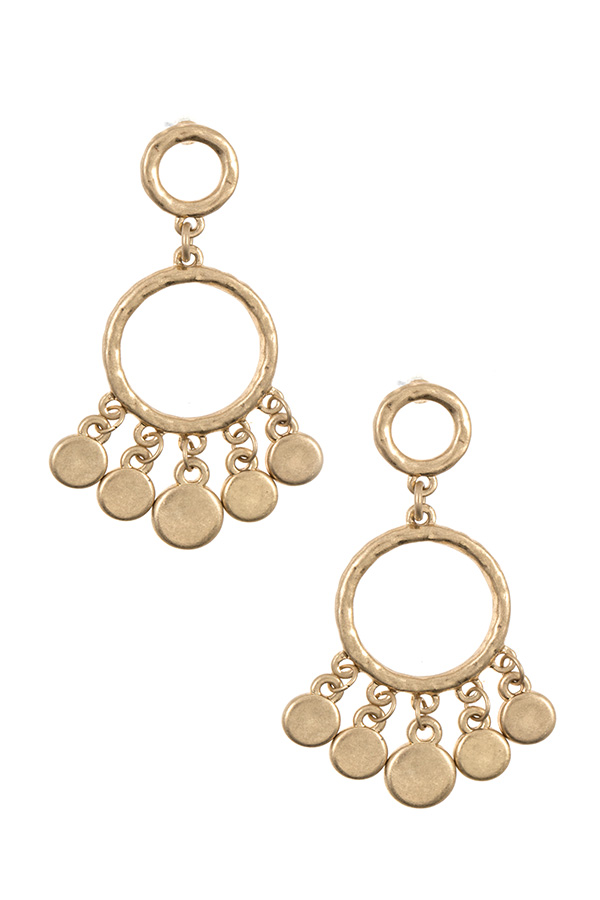 Hammered Ring Drop Dangle Earring