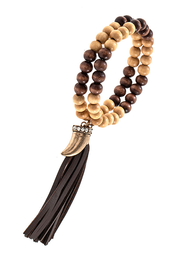 WOODED BEAD FAUX LEATHER TASSEL BRACELET