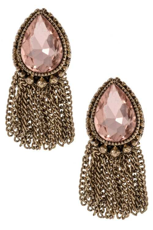 Antique Ornate Detailed Framed Teardrop Gemstone Tassel Earring