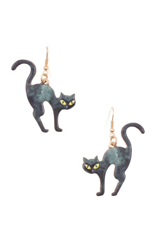 BLACK CAT DROP DANGLE EARRING