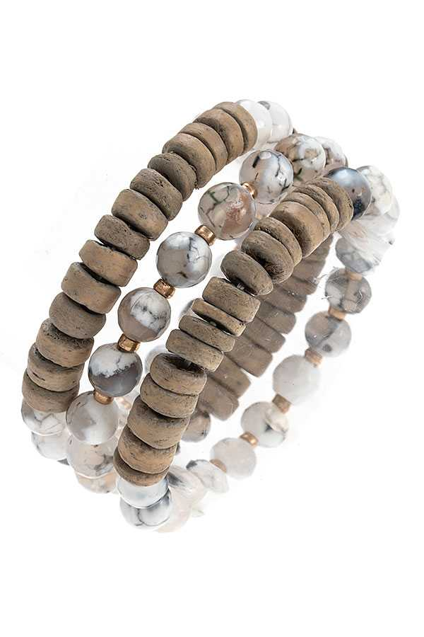 Sehll Money and Precious Stone Multi Bracelet Set