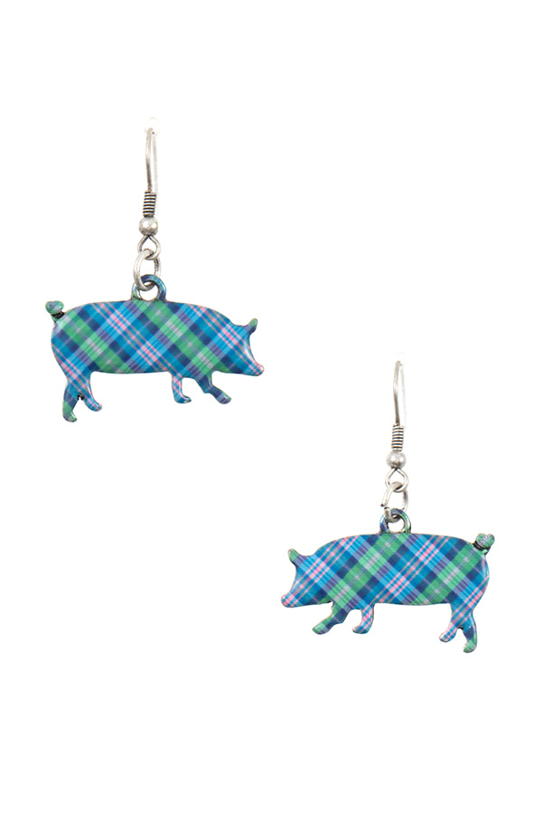 TARTAN PATTERN PIG DANGLE EARRING