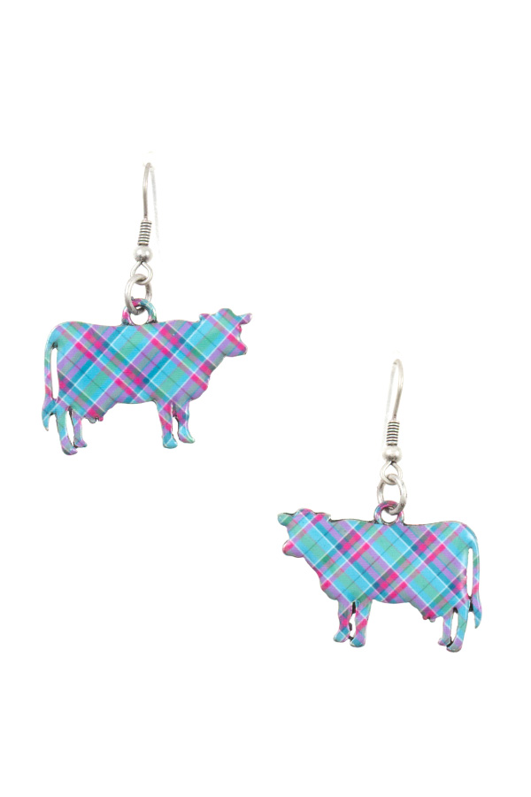 TARTAN PATTERN COW DANGLE EARRING