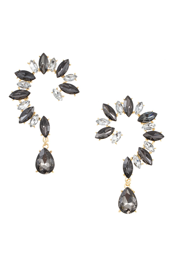 Crystal Floral Tear Drop Dangle Earring
