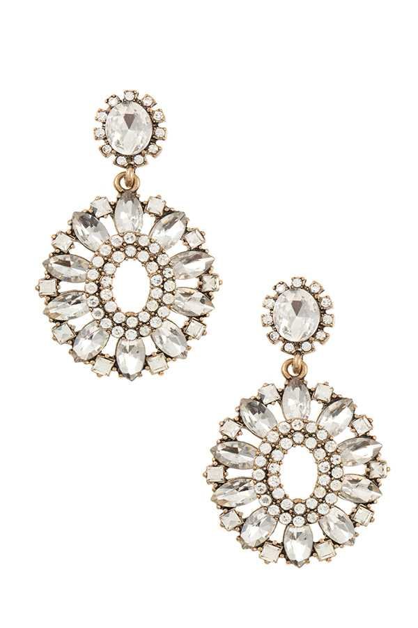 CRYSTAL GEM FLORAL ORNATE DANGLE EARRING
