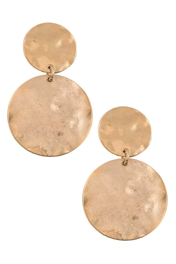 Double Hammered Disk Dangle Earring