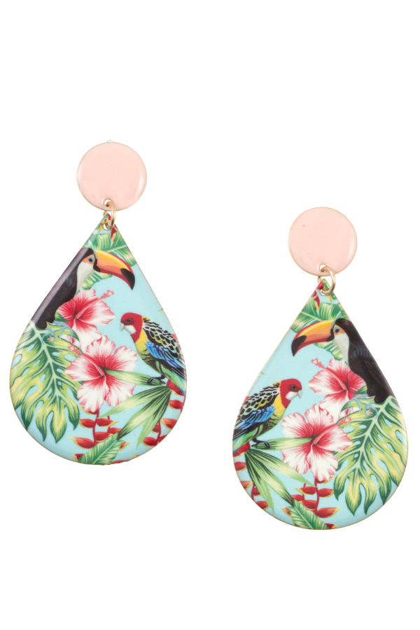 TROPICAL FLORAL TERADROP DANGLE EARRING