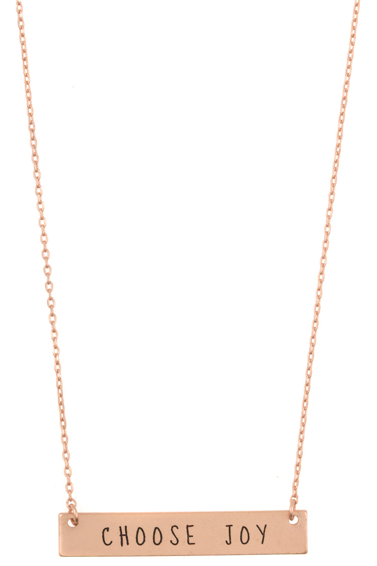 """CHOOSE JOY"" Flat Bar Pendant Necklace"