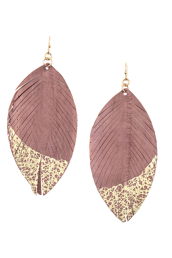 GENUINE LEATHER LEAF WITH GLITTER ACCENT EARRING