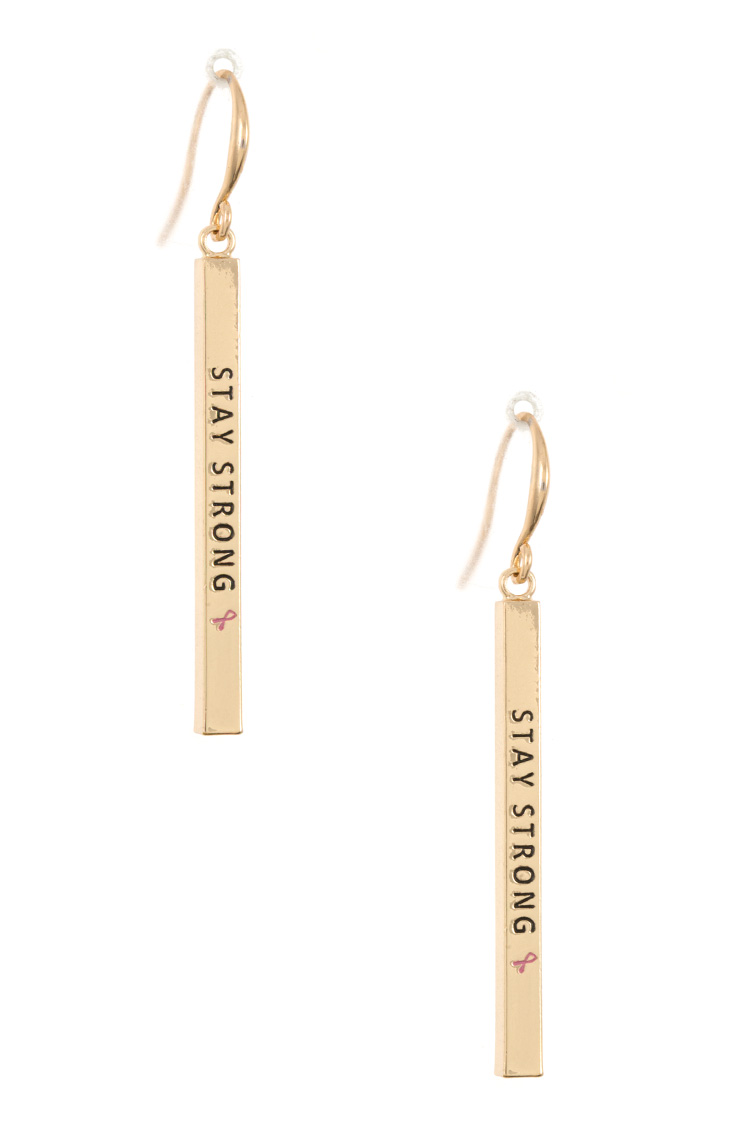 """STAY STRONG 🎗️"" Bar Drop Earring"