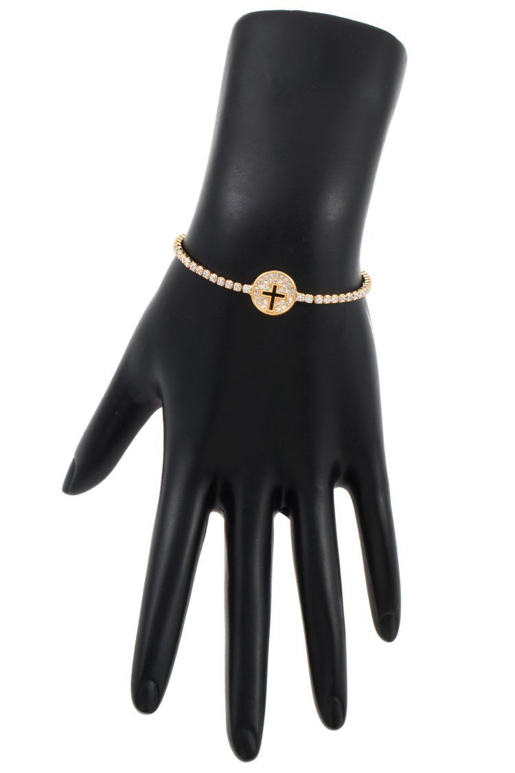 CZ Stone Cross Cut Out Slider Bracelet