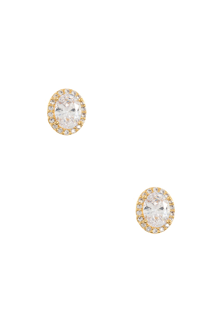 CZ Oval Pave Post Earring
