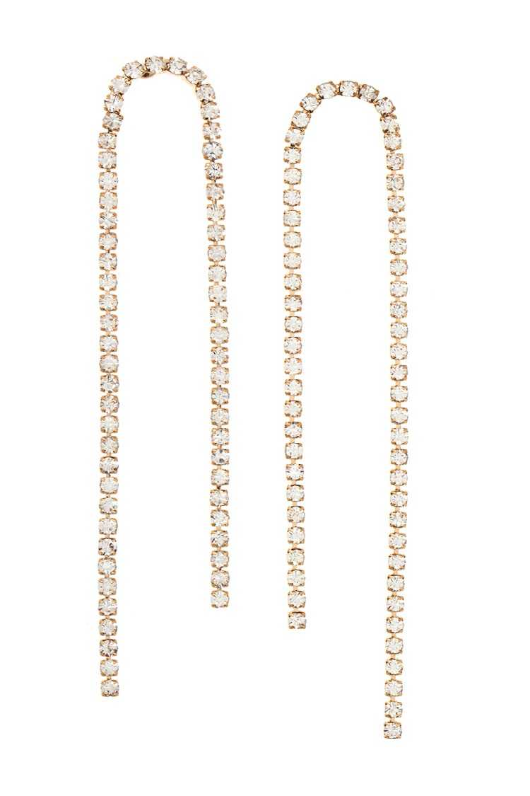 Aligned Rhinestone Pave Drop Earring