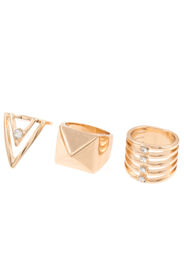 Geometrical Shape 3pc Ring Set
