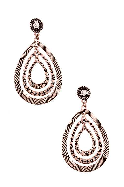 Multi Teardrop Tribal Pattern Dangle Earring