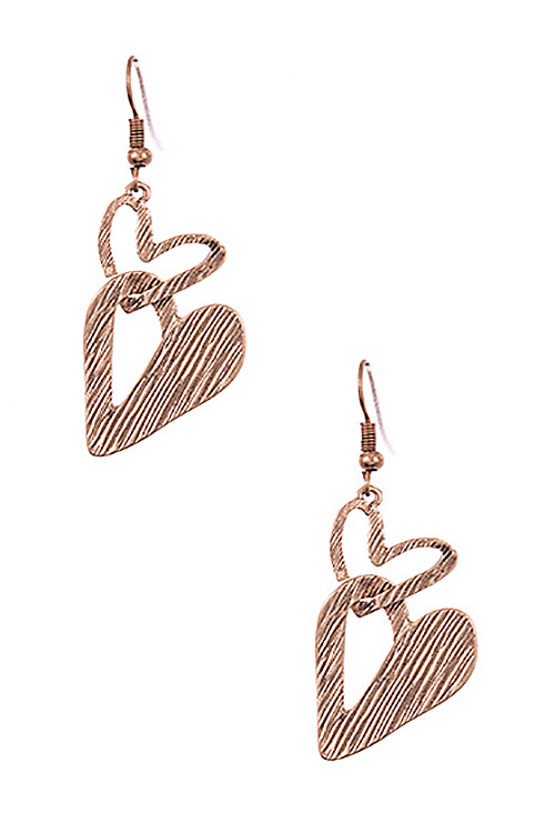 Double Link Heart Dangle Earring