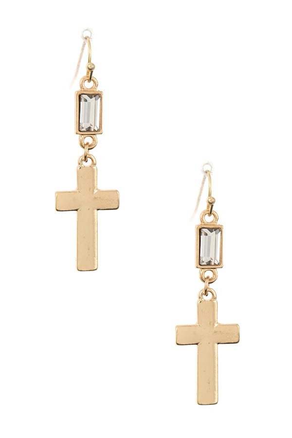 CROSS DROP GEM DANGLE EARRING