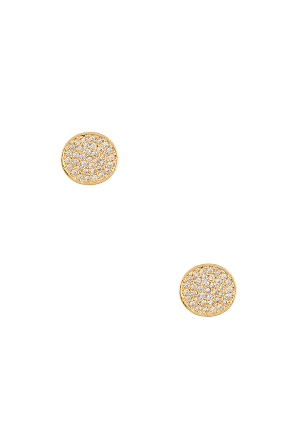 ROUND CZ STONE PAVE POST EARRING