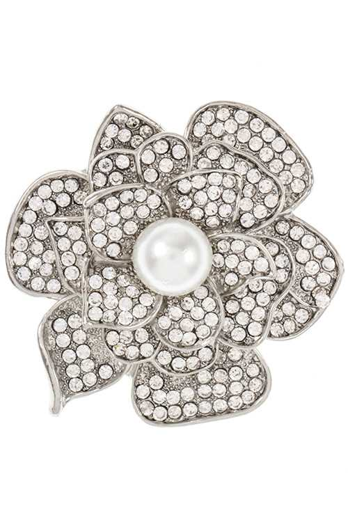 Nice Flower Rhinestone and Pearl Accent Brooch