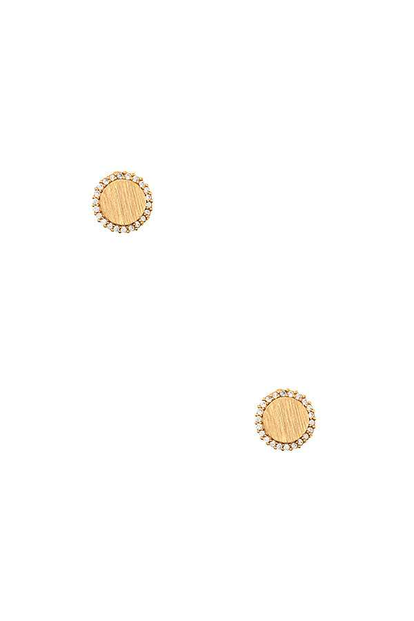 ROUND BRUSHED CZ STONE FRAMED POST EARRING