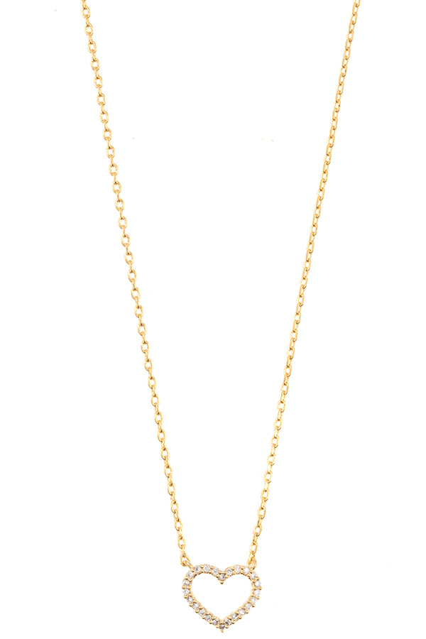 CZ Heart Pave Pendant Necklace