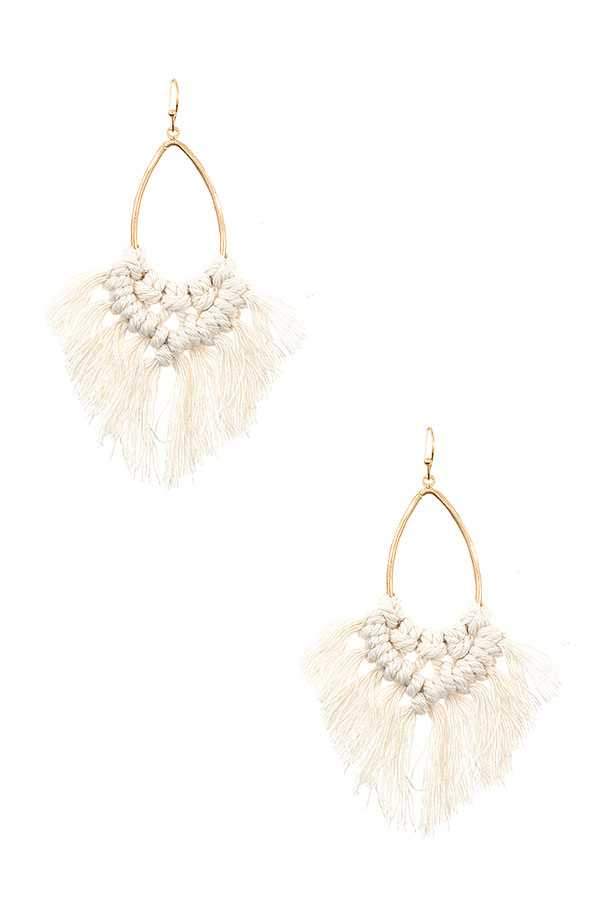 KNOTTED FRINGE DANGLE EARRING