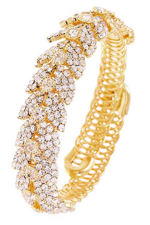 Rhinestone and Crystal Pave Link Wrap Bracelet